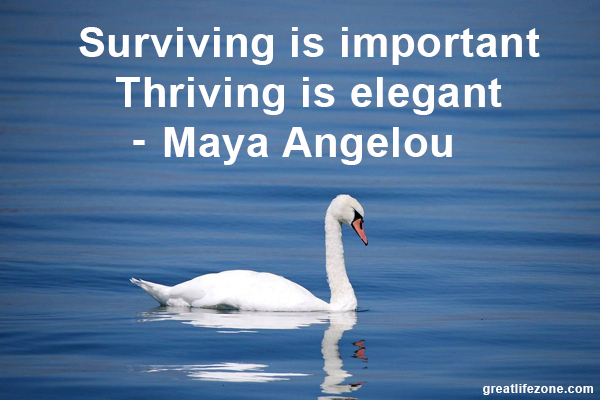 Surviving is important Thriving is elegant - Maya Angelou