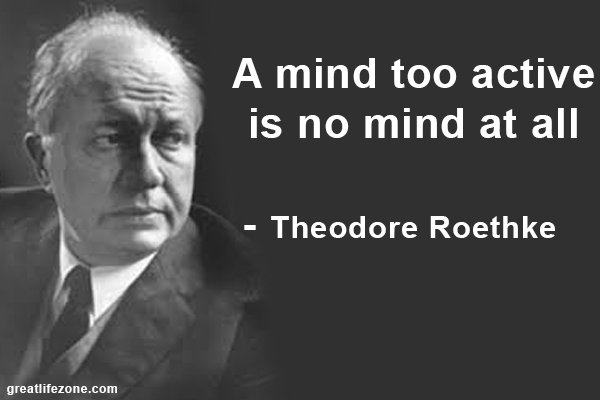 A mind too active is no mind at all - Theodore Roethke